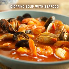 Cioppino-This classic seafood stew is hearty and delicious and is very simple to make. Be certain to serve with some crusty bread to soak up any leftover aromatic broth. You wouldn't want to leave a drop.