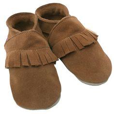 """Chaussons bébé cuir à franges marron """"Ciao"""" (0 à 2 ans) : Starchild - Chaussons en cuir - Berceau Magique"""