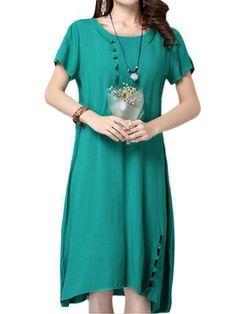 Folk style women solid button frog cotton linen dress casual dresses banana republic #3/4 #sleeve #long #casual #dresses #5 #dollar #casual #dresses #casual #and #dress #casual #dresses #neiman #marcus