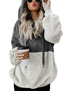LOMON Womens Long Sleeve Fuzzy Sherpa Sweatshirt Soft Fleece Pullover Outwear Coats