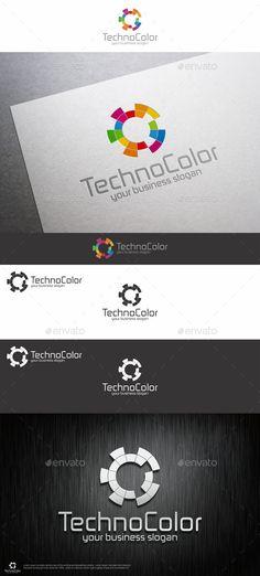 Techno Color Logo Template – Creative, Unique and Colorful Logo Design for your…
