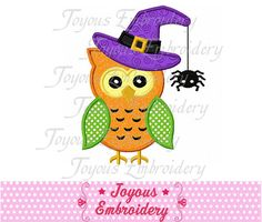 Cute Halloween Owl Applique by JoyousEmbroidery. Nice designs here.