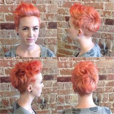 flamingo orange anyone? julia was a new client that came in with intense red hair and wants to go turquoise. work in progress but super stoked on this color! #schwarzkopf #blondmebleach #olaplex #davinesstrongholddrywax #tustin #theyoungamerican #womenshairstyle #disonnectedhaircut #pixie #flamingoorange #shorthairstyle #texturedhaircut #edgypixie