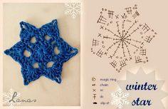 Crochet Winter Star - Tutorial for Crochet, Knitting. Crochet Snowflake Pattern, Crochet Stars, Crochet Motifs, Crochet Snowflakes, Crochet Diagram, Cute Crochet, Crochet Crafts, Easy Crochet, Crochet Flowers