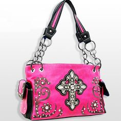 Hot Pink Rhinestone Cross Western Purse