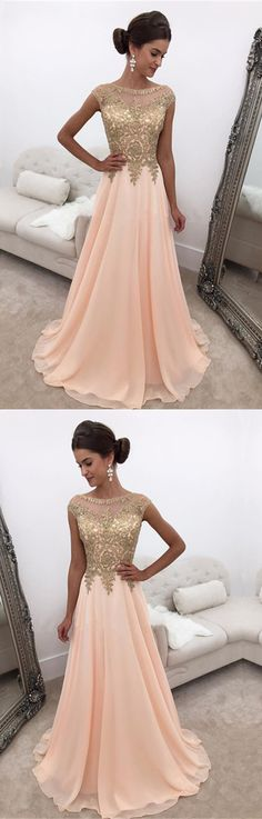 Modest Chiffon Cap Sleeves Prom Dresses Gold Lace Appliques Evening Gowns