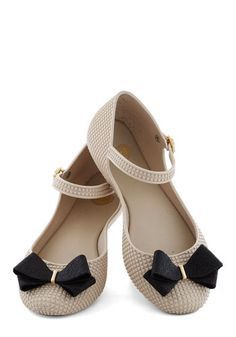 Looks Like Sun Flat in Chai by Mel Shoes - Cream, Black, Solid, Bows, Glitter, International Designer, Flat, Daytime Party, Variation