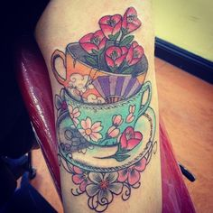 Victorian Tea Cup Tattoos | Vintage Teacup Tattoo Teacup tattoo. Cherry blossoms.