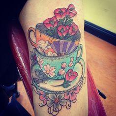Victorian Tea Cup Tattoos   Vintage Teacup Tattoo Teacup tattoo. Cherry blossoms.