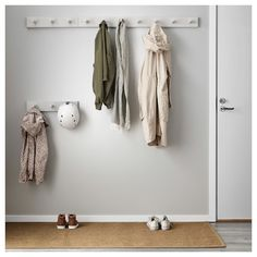 IKEA - KUBBIS, Rack with 7 hooks, gray, Different wall materials require different types of fasteners. Use fasteners suitable for the walls in your home. Tested and approved for bathroom use. Coat Hooks Hallway, Diy Coat Hooks, Entryway Hooks, Coat Hooks On Wall, Coat Storage, Small Storage, Clothes Storage, Shoe Storage, Ikea Hooks