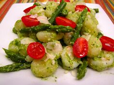 Gnocchi with Pesto, Shrimp, Tomatoes, and Asparagus. Sounds awesome.