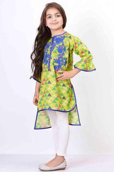 Khaadi –  Embroidered Kurta - Girls - Kids Girls Dresses Sewing, Stylish Dresses For Girls, Frocks For Girls, Little Girl Dresses, Frock Design, Baby Dress Design, Kids Salwar Kameez, Kurti, Pakistani Kids Dresses