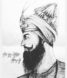 Art Drawings Sketches, Pencil Drawings, Guru Tegh Bahadur, Shri Guru Granth Sahib, Guru Gobind Singh, Bangla Quotes, History Of India, Blessings, Spirituality