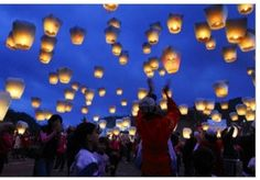 Japanese Sky Lanterns let off at a wedding ceremony to send off best wishes for the newly married couple.