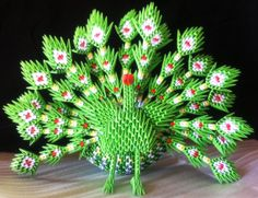 3D Origami Peacock by OrigamiLandDeco on Etsy, $35.00