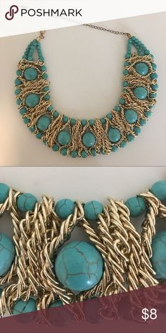 Costume Necklace Turquoise marble like necklace Jewelry Necklaces