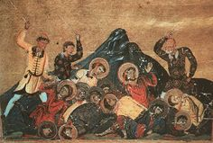 Pagans slaughtering Christians at the first capital of Bulgaria, Pliska. Image from the Menologion of Byzantine Emperor Basil II (Vatican Library).