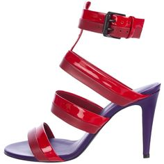 Pre-owned Bottega Veneta Bi-Color Ankle Strap Sandals featuring polyvore, women's fashion, shoes, sandals, purple, ankle strap shoes, ankle wrap sandals, buckle sandals, bottega veneta and bottega veneta sandals