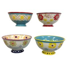Set of four stoneware bowls with floral motifs.   Product: Set of 4 bowls Construction Material: Stoneware