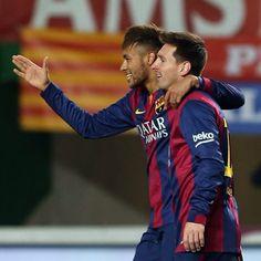 """""""Messi and Neymar double up  Messi i Neymar, dos gols cadascú  Messi y Neymar, dos goles cada uno  #ElcheFCB #Messi #Neymar @neymarjr @leomessi @fcbarcelona"""""""