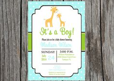 Printed giraffe Baby Shower Invitation jungle by PrintYourEvent, $30.00
