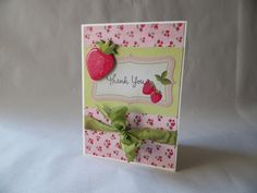 Thank You Card - Shabby Chic, Bright Strawberries and Hand dyed Ribbon. $7.00, via Etsy.
