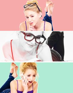 Chloe from dance moms doing a cute pose in 3 pics