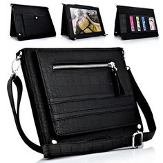 iPad Crocodile Leather Carry Case Stand with Shoulder Bag Strap (Black)