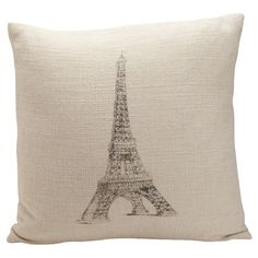 Add a touch of Parisian flair to your home with this chic linen and cotton pillow. Featuring a block print-inspired illustration of the Eiffel Tower, this pl...