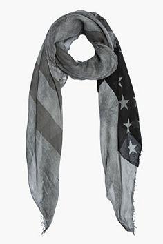 JOHN VARVATOS Black & Charcoal Antique Printed American Flag Scarf
