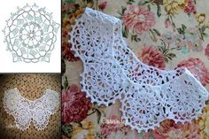 Crochet spiral blister check or coin stitch – Artofit Crochet Collar Pattern, Col Crochet, Crochet Lace Collar, Crochet T Shirts, Crochet Motifs, Crochet World, Crochet Flower Patterns, Crochet Art, Crochet Diagram