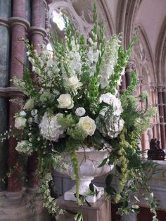 Summer pedestal arrangement by Twisted Willow Floristry Floral Wedding, Wedding Colors, Large Flower Arrangements, Church Wedding Decorations, Church Flowers, Arte Floral, Foyers, Bridal Flowers, Floral Centerpieces