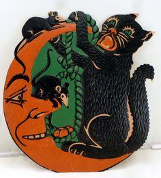 "1930s Halloween Black Cat Mice Moon 9"" DieCut Embossed Paperboard Wall Decor USA"