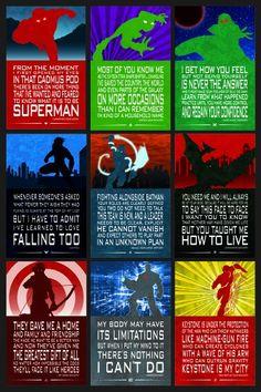 Teen Titans Young Justice Quote Poster Set 3. Superboy, Beasy Boy, Miss Martian, M'gann, Nightwing, Aqualad, Robin, Damian Wayne, Red Arrow, Arsenal, Cyborg, Kid Flash, Wally West