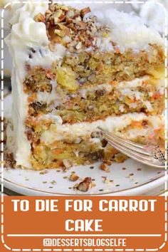 4.9 ★★★★★ - The BEST Carrot Cake you'll ever try! So easy to make and as an added bonus, there's no oil or butter! This To Die For Carrot Cake receives rave reviews for it's unbelievable moistness and flavor! I know this cake will quickly become a family favorite! // Mom On Timeout #DessertsBlogSelfe #carrotcake #carrotcakerecipe #carrot #cake #recipe #best #carrotcake #pineapple #applesauce #dessert #cakes #Easter #cake #recipe #baking #sweets #carrots #pecans #creamcheese #frosti…