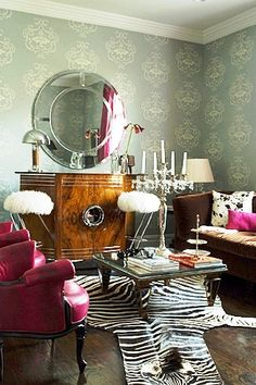 Pink and brown furniture, cow and zebra print with antique furniture