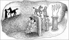 """. . Das Eingangsbild zeigt die Situation im sogenannten """"Höhlengleichnis"""" des antiken Philosophen Platon (ca. 400 vor Christus). Ihr seht dort Leute, die man gefesselt hat und die nur i…"""