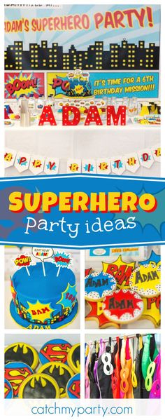 Check out this awesome Superhero birthday party! The birthday cake and sugar coated cookies are so cool!! See more party ideas and share yours at CatchMyParty.com #superhero #boybirthday