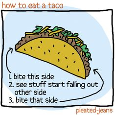 Now I know I'm not alone in trying to eat a taco without much of it ending up down the front of my shirt...