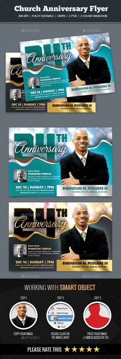 This is a Church Anniversary Flyer Template Which is fully editablePack included: 2 PSD Files 6.25 x 4.25 inches.(0.25 bleed area.) 300 dpi CMYK. Easy Photo Replacement. Smart Object. Well Organized Layer CMYK Color Mode Editable Text Layers Fully Editable 2 V