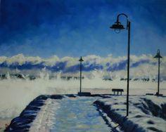 quai de Baie saint-Paul (hiver), Oil painting by Erick Bruniau | Artfinder