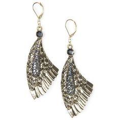MANGO Wings Crystals Earrings ($30) via Polyvore