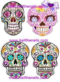 Hey, I found this really awesome Etsy listing at http://www.etsy.com/listing/122671102/pink-sugar-skull-nail-art-water-transfer