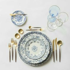 RENT: Blue Fleur de Lis Chargers + Blue Garden Collection Vintage China + Goa Flatware in Brushed Gold/Wood + Chloe Gold Rimmed Stemware + Chloe Gold Rimmed Goblet in Light Blue + Gold Salt Cellars + Tiny Gold Spoons SHOP: Goa Flatware in Dinner Sets, Dinner Table, Gold Flatware, Cutlery, Vase Deco, Blue Garden, Gold Wood, Vintage China, Antique China