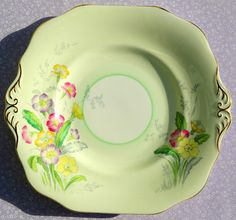 Old Royal Vintage Pale Green Primrose Pattern Cake Plate, 1930-41
