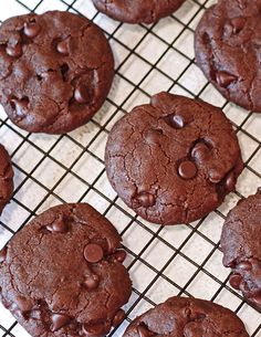 Sarah Bakes Gluten Free recipe ... VEGAN and GLUTEN-FREE double chocolate chip cookies. Like a brownie in a cookie.