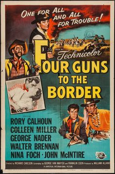 "Movie Posters:Western, Four Guns to the Border (Universal International, 1954). One Sheet(27"" X 41""). Western.. ... Image #1"