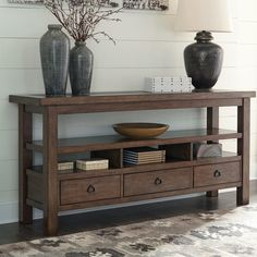 Campfield Console Table Signature Design in Sofa Tables. Be open to the possibil… Campfield Console Table Signature Design en Sofa … Entry Tables, Sofa Tables, Accent Tables, Rustic Console Tables, Coffee Tables, Industrial Design Furniture, Furniture Design, Furniture Projects, Wood Furniture
