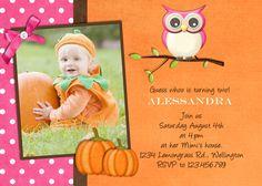 Pumpkin Owl Birthday Invitation - Fall Party Custom  Printable Photo Card. $16.00, via Etsy.