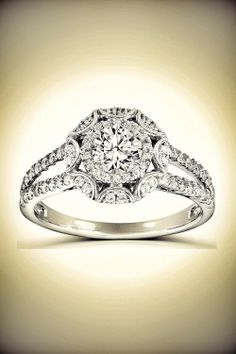 Victorian Halo Double Band Diamond Engagement Ring